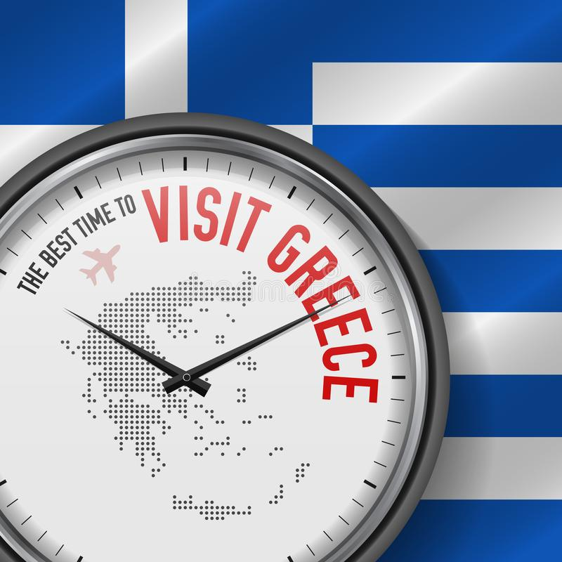 The Best Time to Visit Greece. Flight, Tour to Greece. Vector Illustration. The Best Time to Visit Greece. Travel to Greece. Tourist Air Flight. Waving Flag royalty free illustration