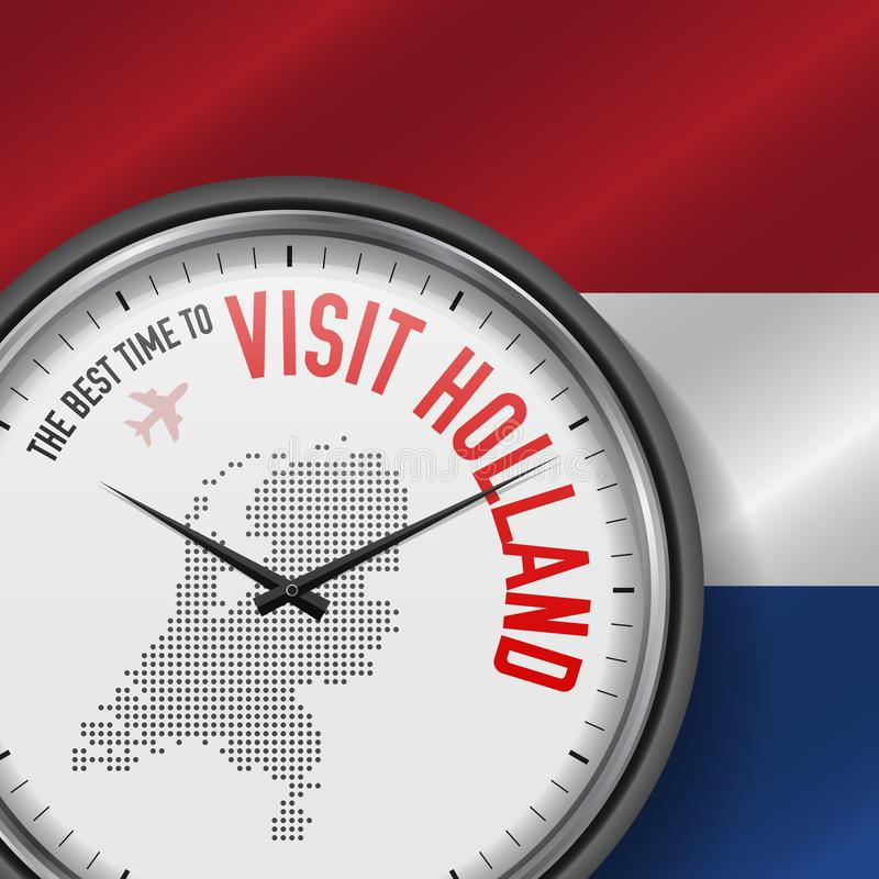 The Best Time to Visit Holland. Flight, Tour to Netherlands. Vector Illustration vector illustration