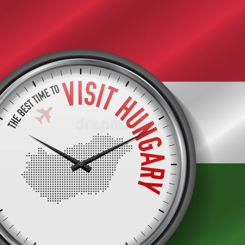 The Best Time to Visit Hungary. Flight, Tour to Hungary. Vector Illustration stock illustration