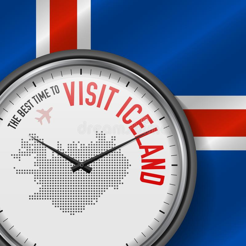 The Best Time to Visit Iceland. Flight, Tour to Iceland. Vector Illustration vector illustration