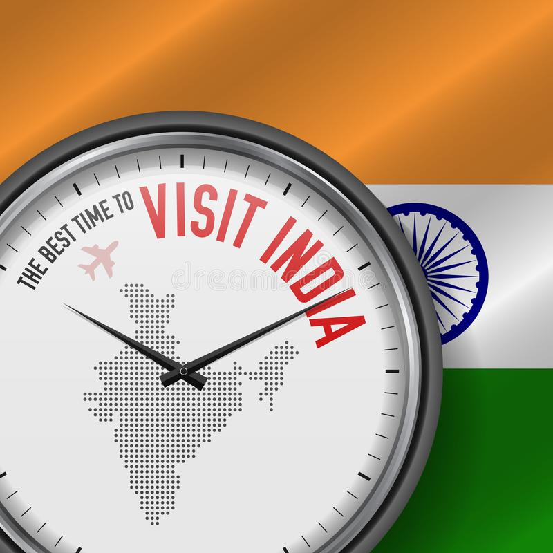The Best Time to Visit India. Flight, Tour to India. Vector Illustration. The Best Time to Visit India. Travel to India. Tourist Air Flight. Waving Flag royalty free illustration