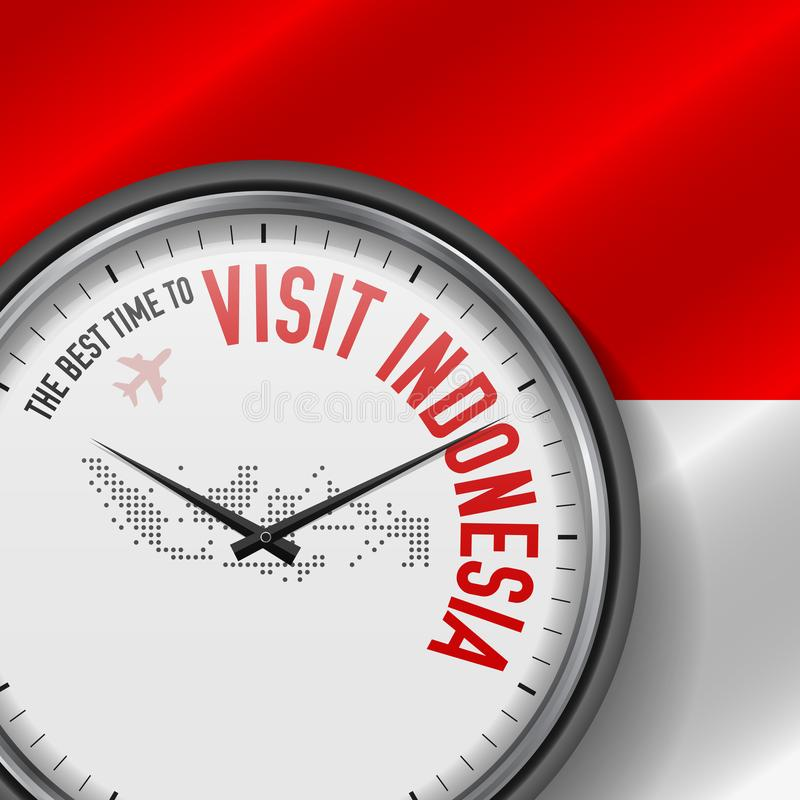 The Best Time to Visit Indonesia. Flight, Tour to Indonesia. Vector Illustration. The Best Time to Visit Indonesia. Travel to Indonesia. Tourist Air Flight royalty free illustration