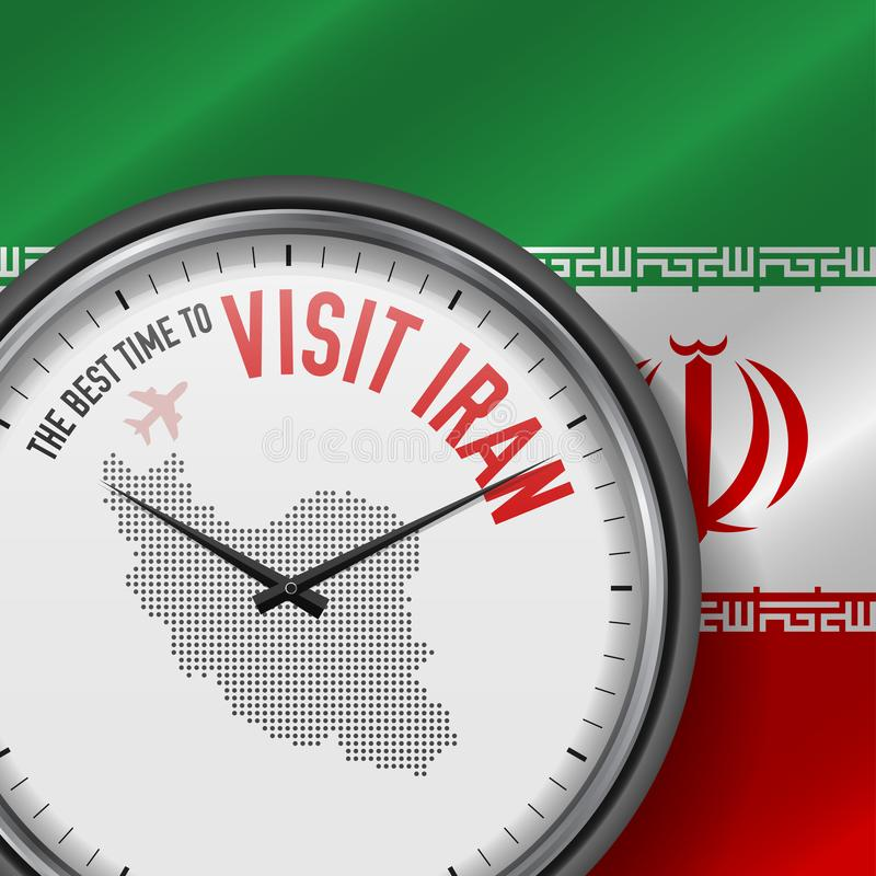 The Best Time to Visit Iran. Flight, Tour to Iran. Vector Illustration. The Best Time to Visit Iran. Travel to Iran. Tourist Air Flight. Waving Flag Background stock illustration