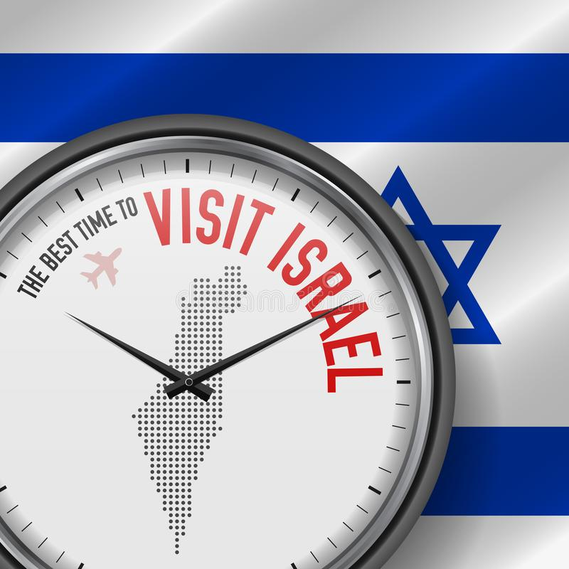 The Best Time to Visit Israel. Flight, Tour to Israel. Vector Illustration. The Best Time to Visit Israel. Travel to Israel. Tourist Air Flight. Waving Flag royalty free illustration