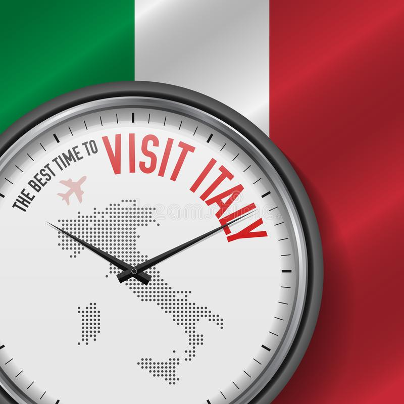 The Best Time to Visit Italy. Flight, Tour to Italy. Vector Illustration stock illustration