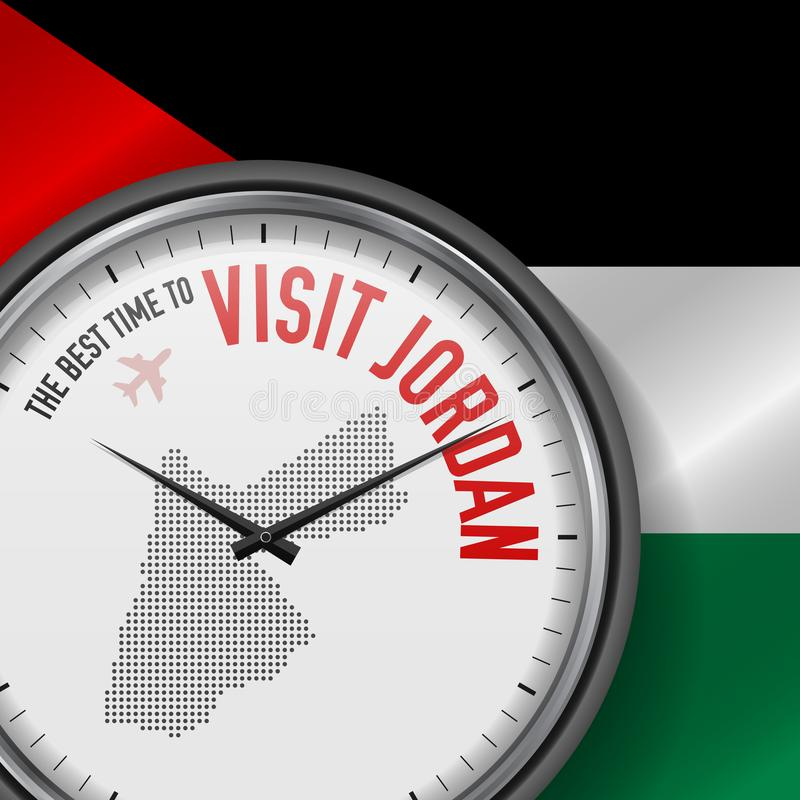 The Best Time to Visit Jordan. Flight, Tour to Jordan. Vector Illustration. The Best Time to Visit Jordan. Travel to Jordan. Tourist Air Flight. Waving Flag vector illustration