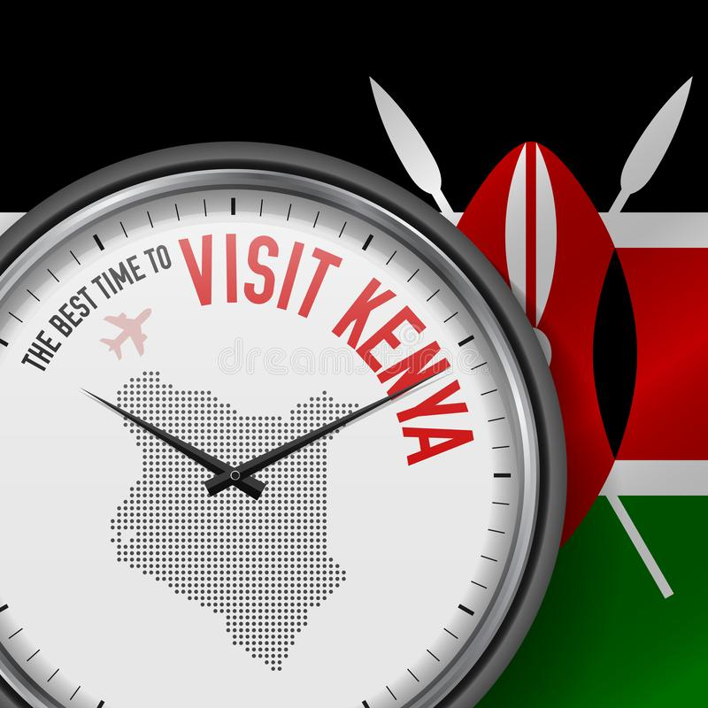 The Best Time to Visit Kenya. Flight, Tour to Kenya. Vector Illustration stock illustration