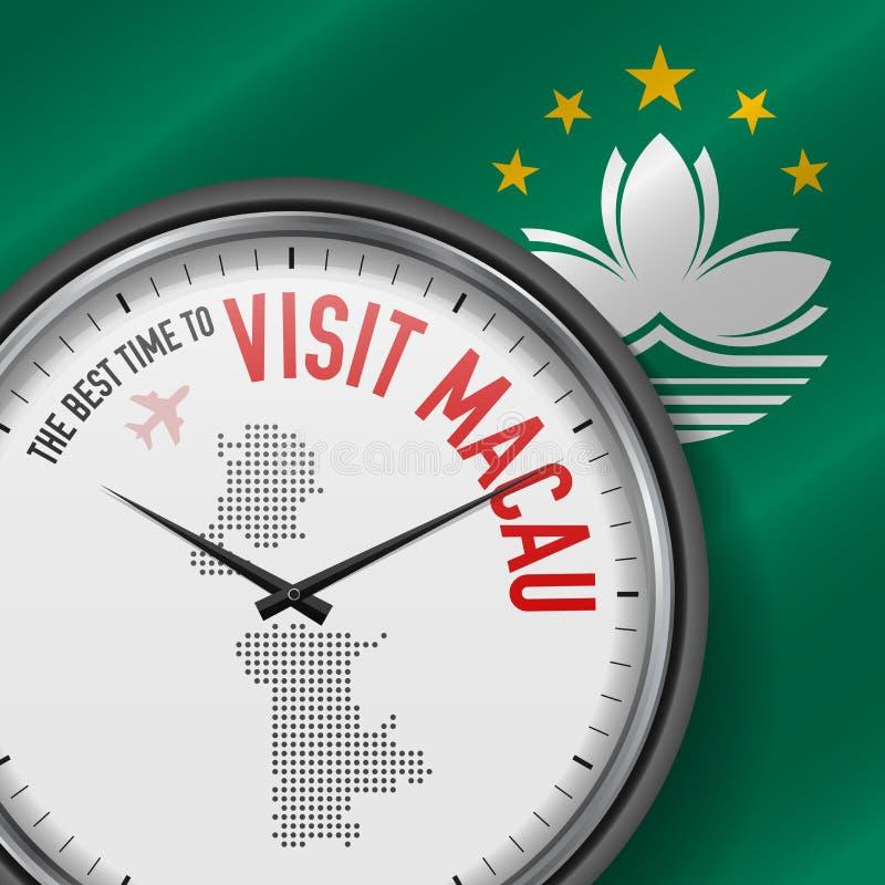 The Best Time to Visit Macau. Flight, Tour to Macau. Vector Illustration. The Best Time to Visit Macau. Travel to Macau. Tourist Air Flight. Waving Flag vector illustration