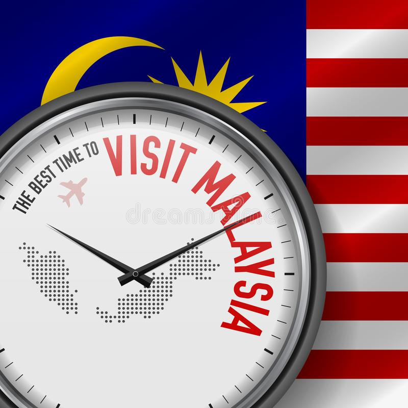 The Best Time to Visit Malaysia. Flight, Tour to Malaysia. Vector Illustration. The Best Time to Visit Malaysia. Travel to Malaysia. Tourist Air Flight. Waving stock illustration