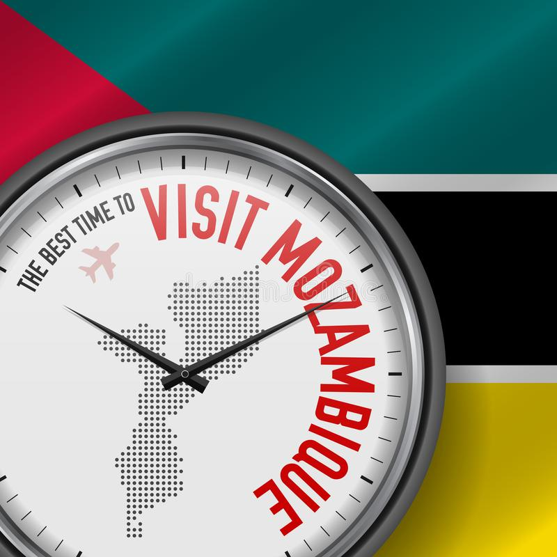 The Best Time to Visit Mozambique. Flight, Tour to Mozambique. Vector Illustration vector illustration