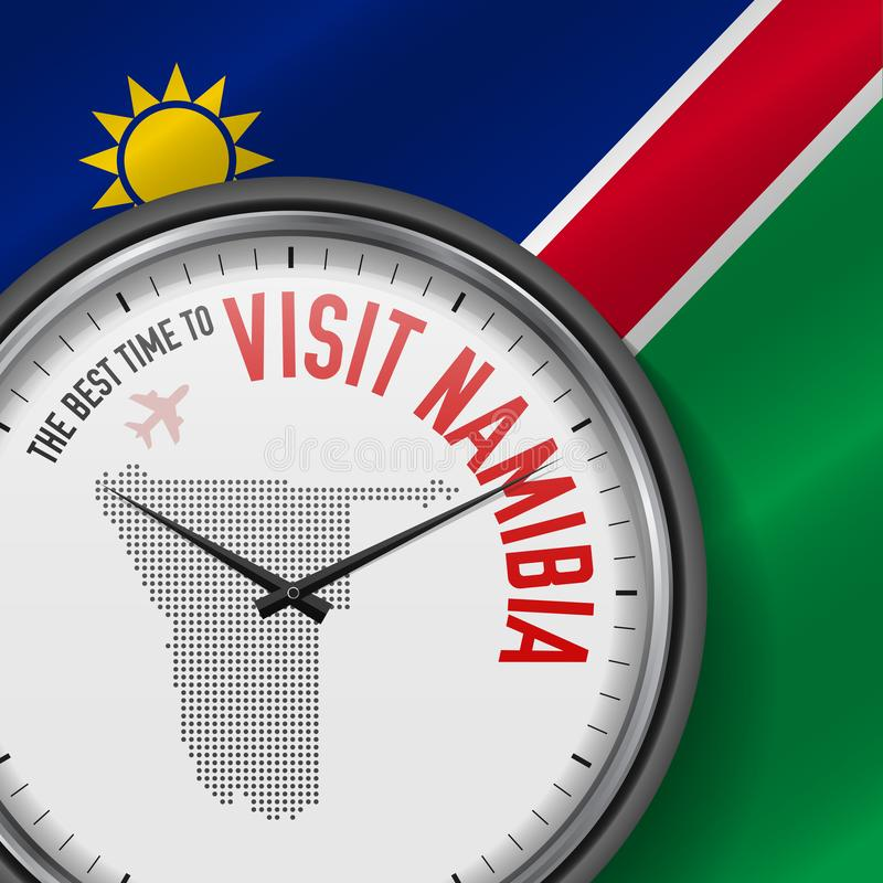 The Best Time to Visit Namibia. Flight, Tour to Namibia. Vector Illustration. The Best Time to Visit Namibia. Travel to Namibia. Tourist Air Flight. Waving Flag royalty free illustration