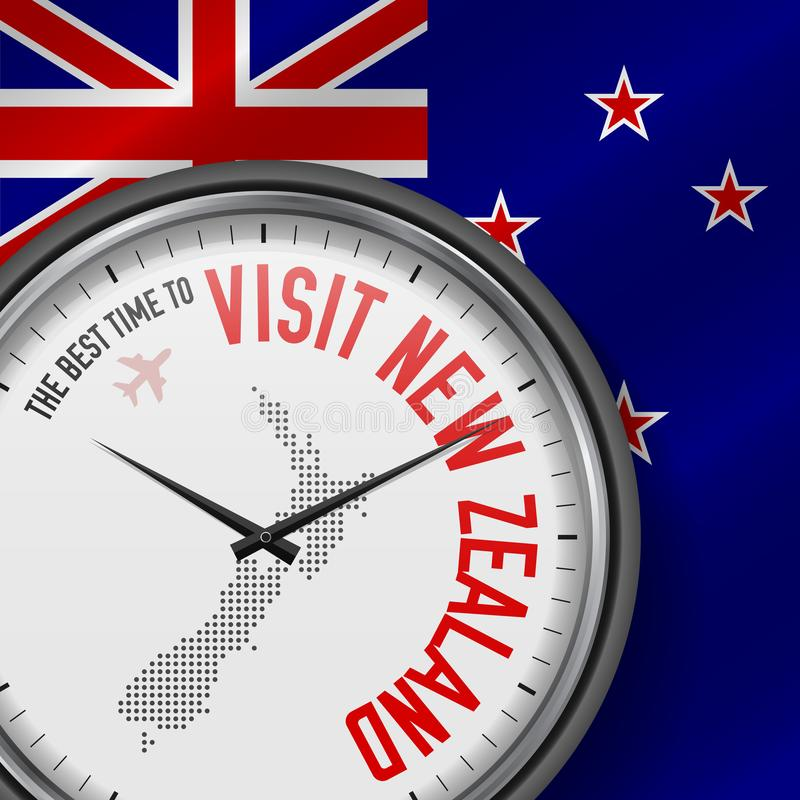 The Best Time to Visit New Zealand. Flight, Tour to New Zealand. Vector Illustration vector illustration