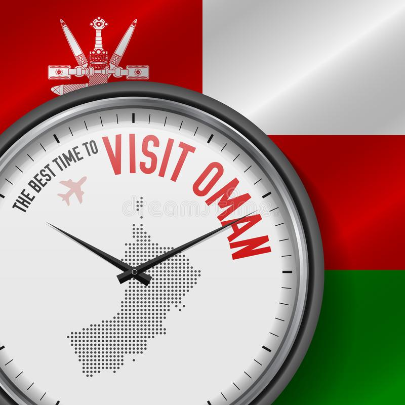 The Best Time to Visit Oman. Flight, Tour to Oman. Vector Illustration. The Best Time to Visit Oman. Travel to Oman. Tourist Air Flight. Waving Flag Background vector illustration