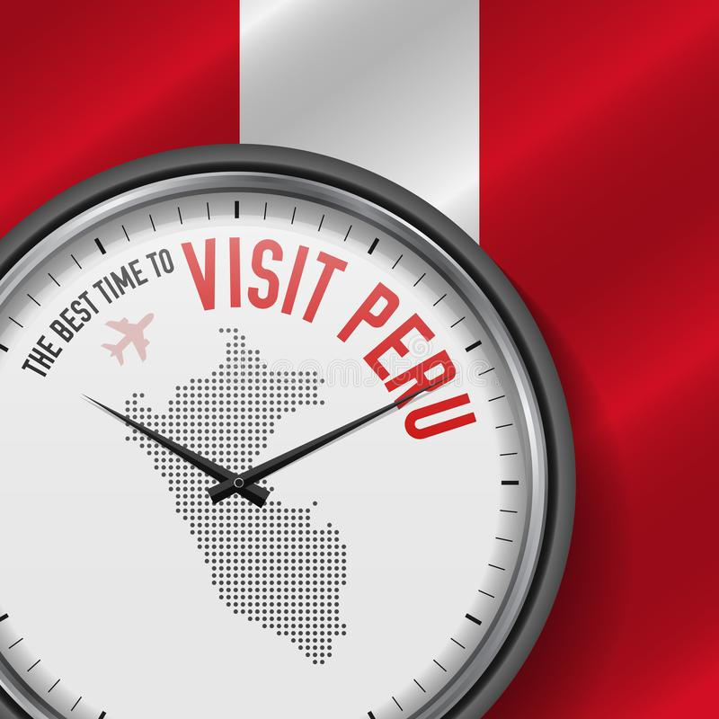 The Best Time to Visit Peru. Flight, Tour to Peru. Vector Illustration. The Best Time to Visit Peru. Travel to Peru. Tourist Air Flight. Waving Flag Background vector illustration