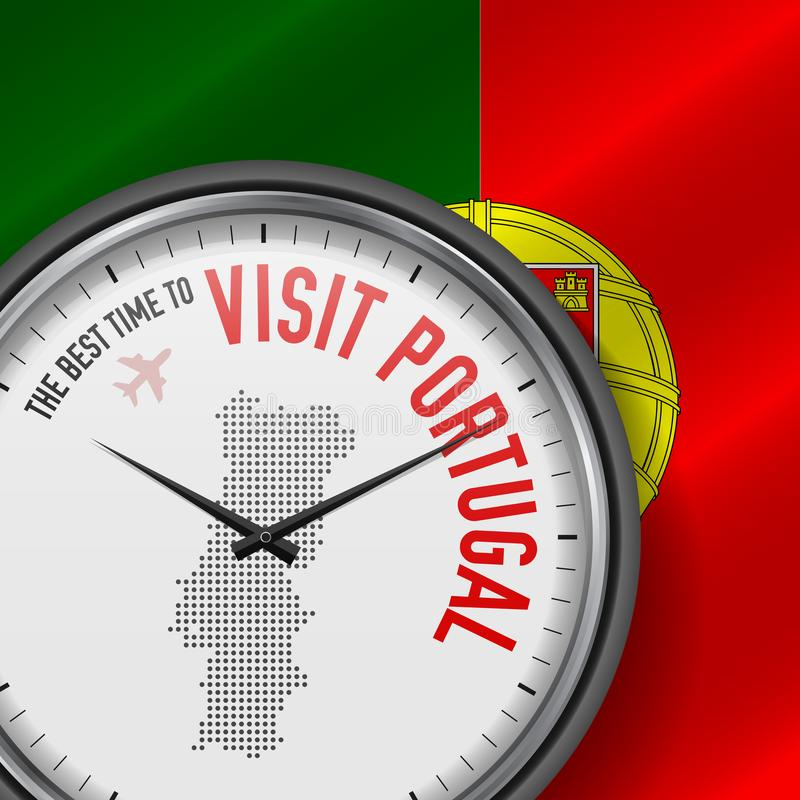 The Best Time to Visit Portugal. Flight, Tour to Portugal. Vector Illustration stock illustration