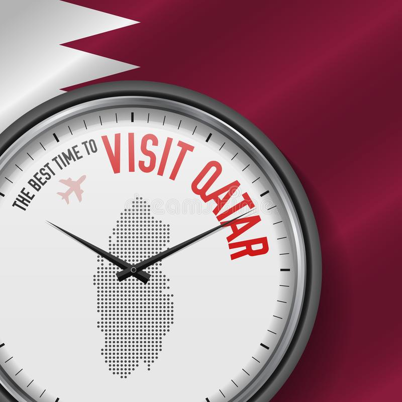 The Best Time to Visit Qatar. Flight, Tour to Qatar. Vector Illustration. The Best Time to Visit Qatar. Travel to Qatar. Tourist Air Flight. Waving Flag royalty free illustration