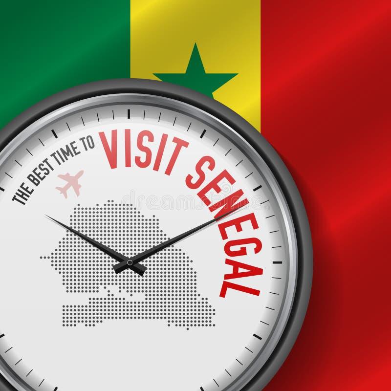 The Best Time to Visit Senegal. Flight, Tour to Senegal. Vector Illustration. The Best Time to Visit Senegal. Travel to Senegal. Tourist Air Flight. Waving Flag stock illustration