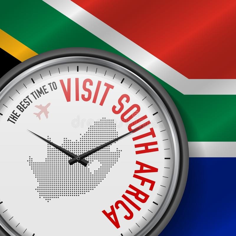 The Best Time to Visit South Africa. Flight, Tour to South Africa. Vector Illustration stock illustration