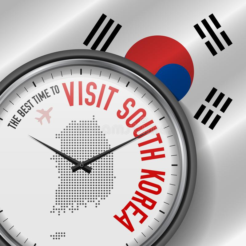 The Best Time to Visit South Korea. Flight, Tour to South Korea. Vector Illustration. The Best Time to Visit South Korea. Travel to South Korea. Tourist Air royalty free illustration