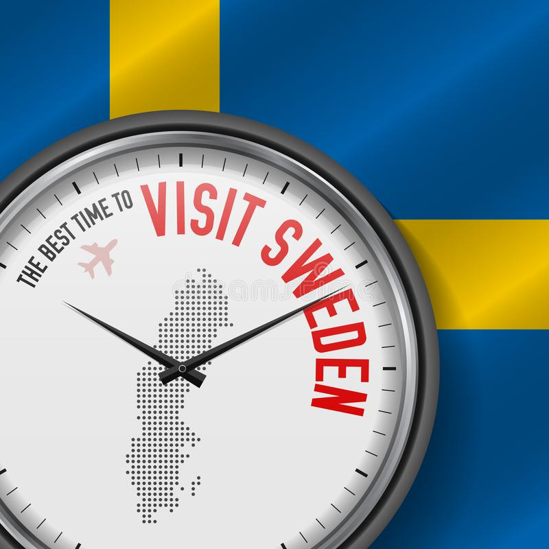The Best Time to Visit Sweden. Flight, Tour to Sweden. Vector Illustration stock illustration