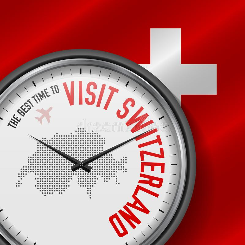 The Best Time to Visit Switzerland. Flight, Tour to Switzerland. Vector Illustration vector illustration