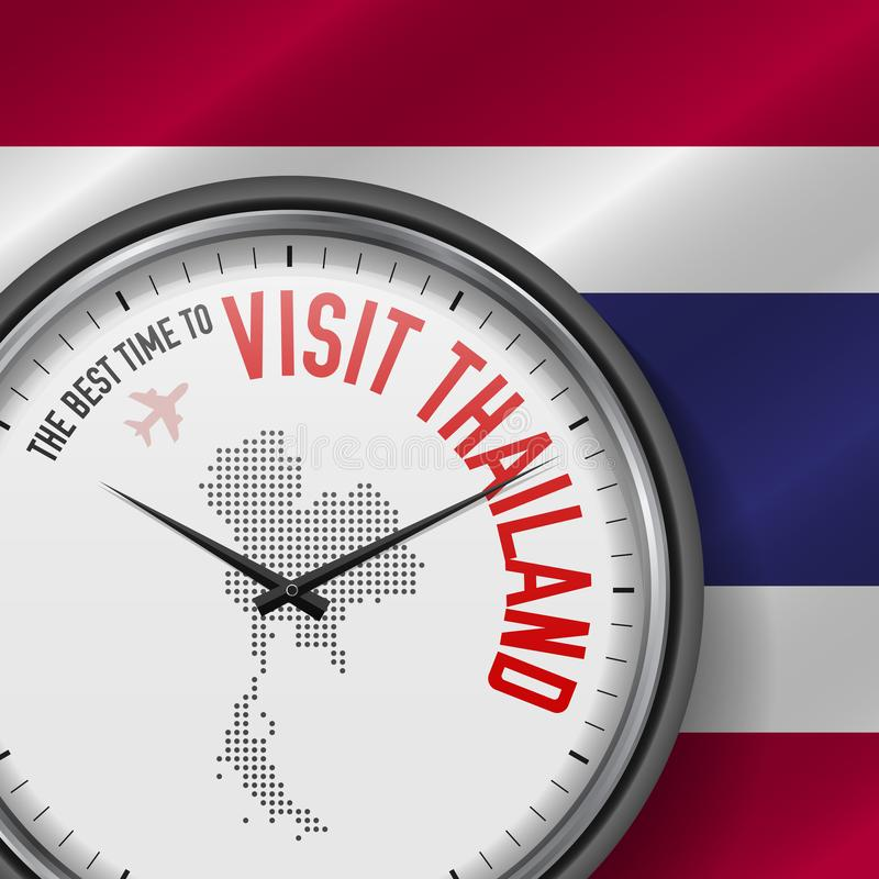 The Best Time to Visit Thailand. Flight, Tour to Thailand. Vector Illustration. The Best Time to Visit Thailand. Travel to Thailand. Tourist Air Flight. Waving stock illustration