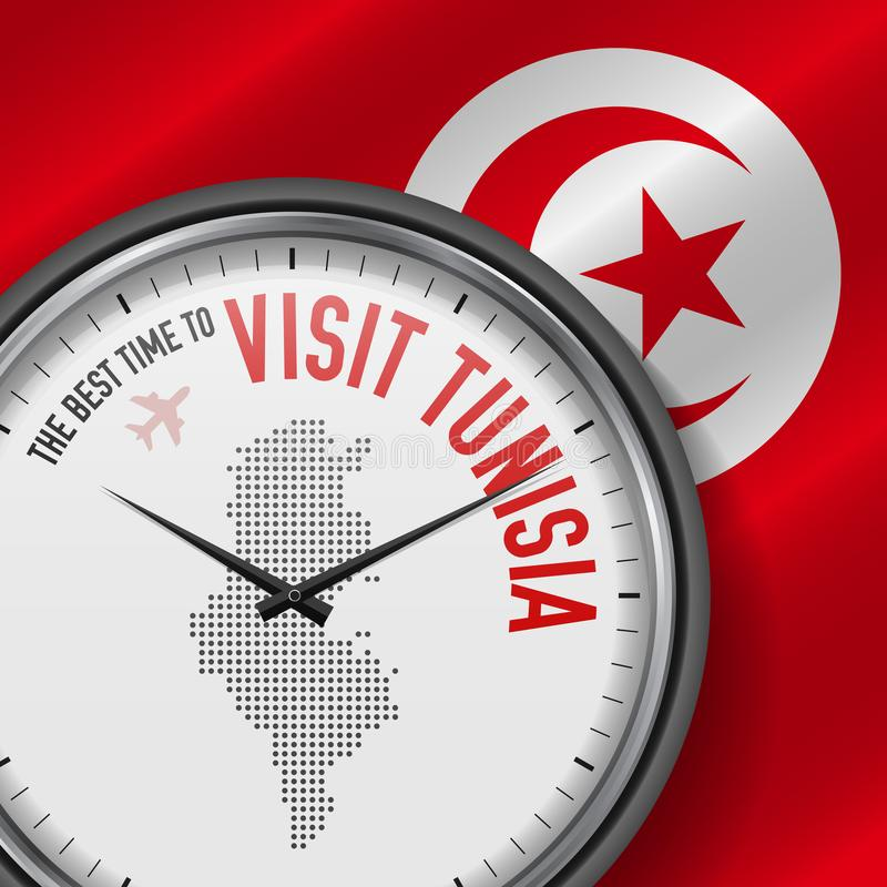The Best Time to Visit Tunisia. Flight, Tour to Tunisia. Vector Illustration. The Best Time to Visit Tunisia. Travel to Tunisia. Tourist Air Flight. Waving Flag royalty free illustration