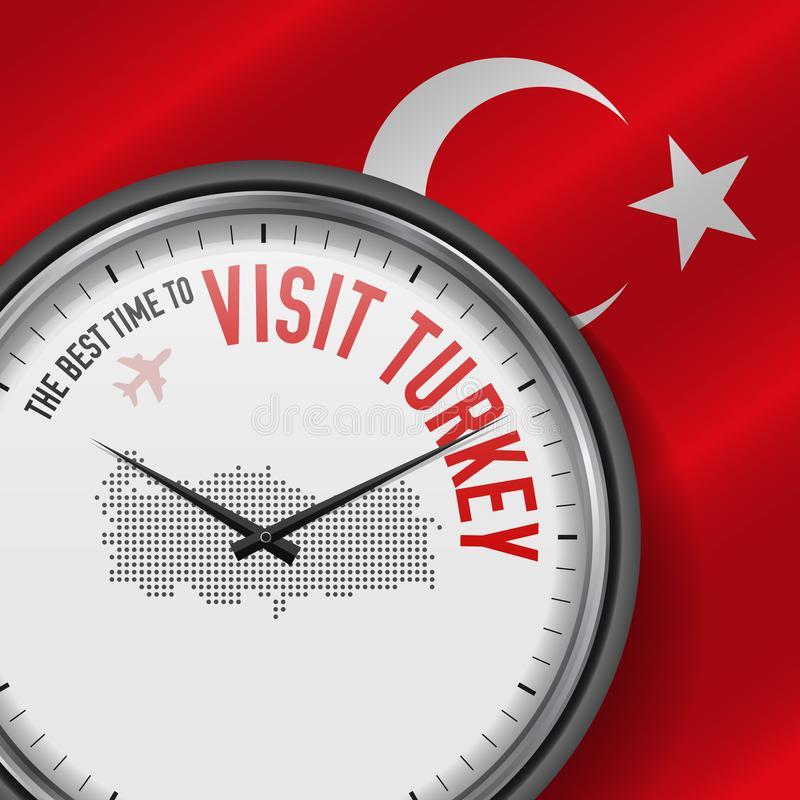 The Best Time to Visit Turkey. Flight, Tour to Turkey. Vector Illustration. The Best Time to Visit Turkey. Travel to Turkey. Tourist Air Flight. Waving Flag vector illustration