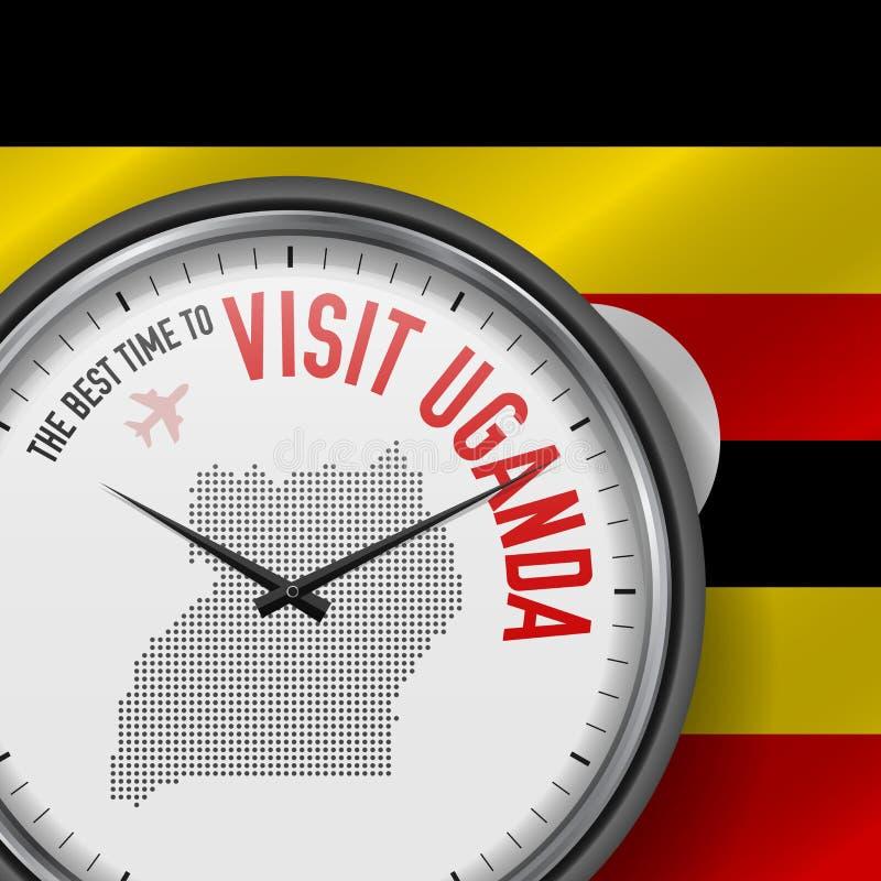 The Best Time to Visit Uganda. Flight, Tour to Uganda. Vector Illustration. The Best Time to Visit Uganda. Travel to Uganda. Tourist Air Flight. Waving Flag stock illustration