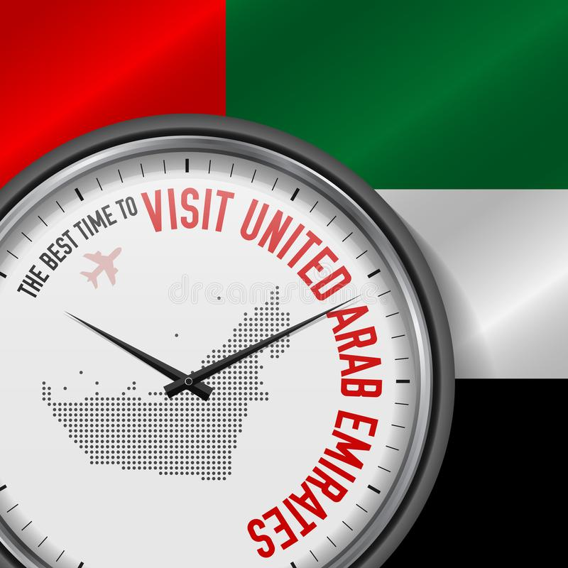 The Best Time to Visit United Arab Emirates. Flight, Tour to United Arab Emirates. Vector Illustration. The Best Time to Visit United Arab Emirates. Travel to stock illustration