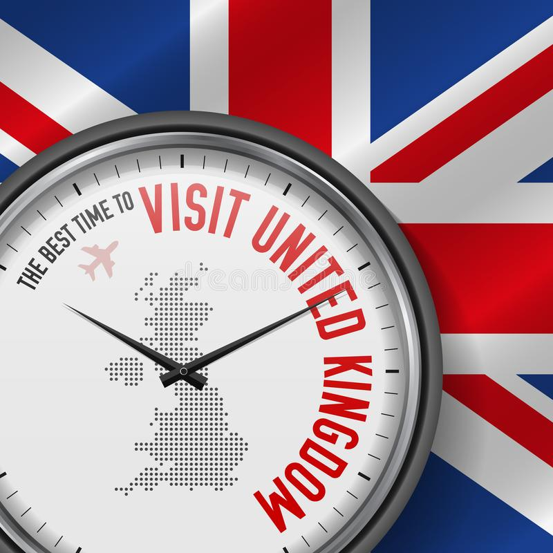The Best Time to Visit United Kingdom. Flight, Tour to Great Britain. Vector Illustration. The Best Time to Visit United Kingdom. Tourist Air Flight. Tourist royalty free illustration