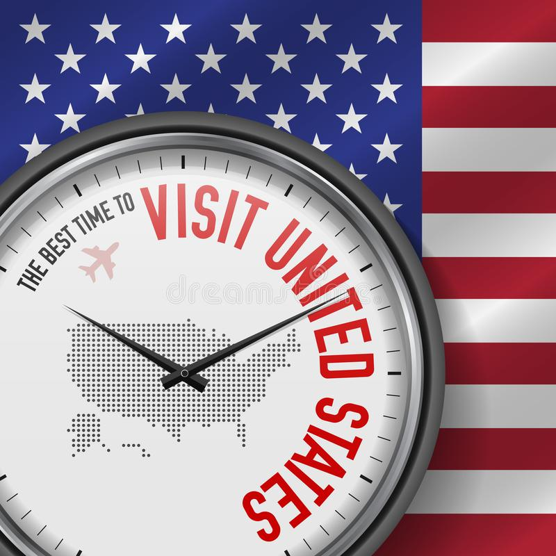 The Best Time to Visit United States. Flight, Tour to United States. Vector Illustration vector illustration