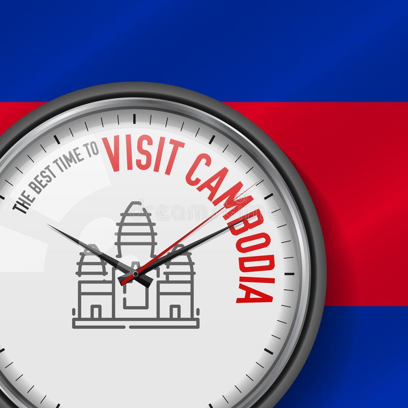 The Best Time for Visit Cambodia. Vector Clock with Slogan. Cambodian Flag Background. Analog Watch. Angkor Wat Icon vector illustration