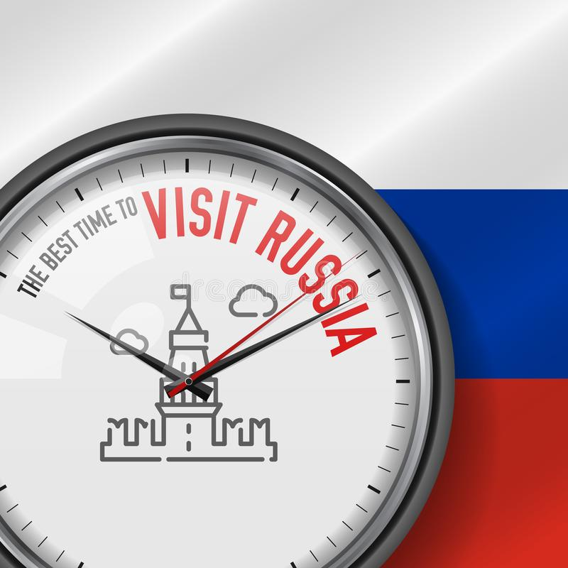 The Best Time for Visit Russia. Vector Clock with Slogan. Russian Flag Background. Analog Watch. Moscow Kremlin Icon royalty free illustration