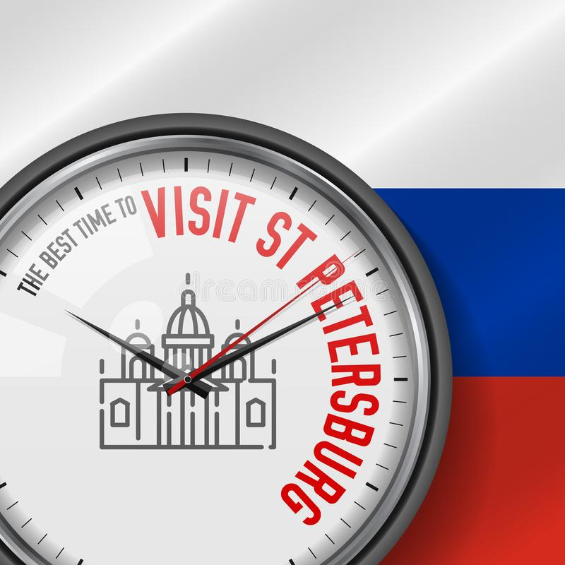 The Best Time for Visit St. Petersburg. Vector Clock with Slogan. Russian Flag Background. Saint Isaac`s Cathedral Icon vector illustration