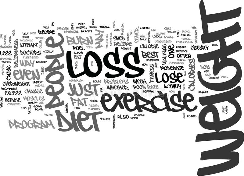 Is It Best To Diet Or Exercise For Weight Loss Text Background Word Cloud Concept stock illustration