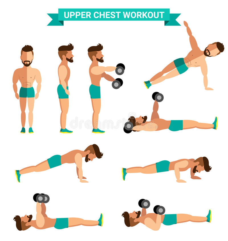 Download The Best Upper Chest Workout For Men Stock Vector