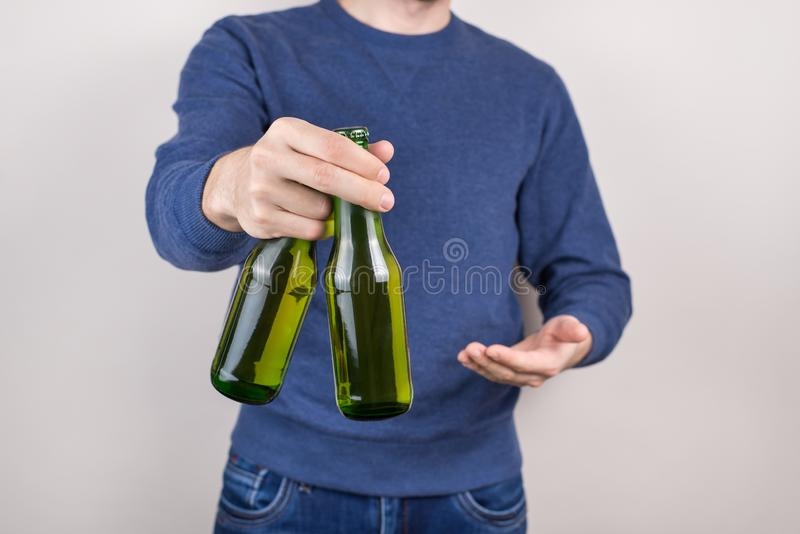 Best vacation for carefree students concept. Cropped close-up photo of positive happy satisfiedcheerful drunk party goer making royalty free stock photography