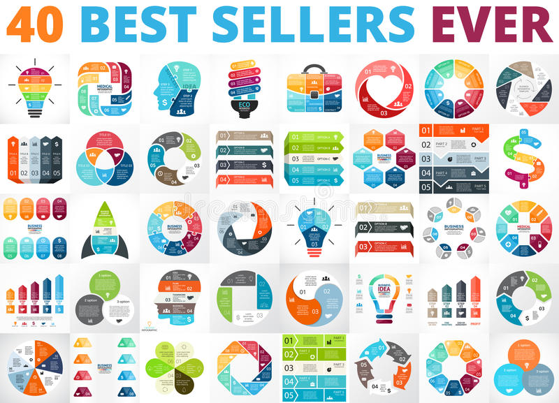 Best vector circle infographics set. Business diagrams, arrows graphs, startup logo presentations and idea charts. Data royalty free illustration