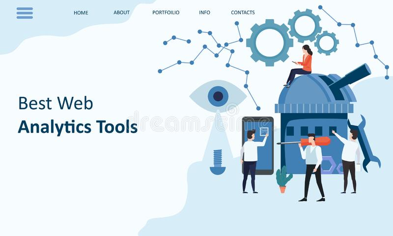 Best Web Analytics tools. Mockup landing page website design. Modern trend flat design concept of web page design for stock illustration