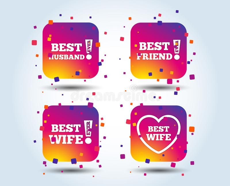 Best wife, husband and friend icons. Heart love signs. Awards with exclamation symbol. Colour gradient square buttons. Flat design concept. Vector royalty free illustration