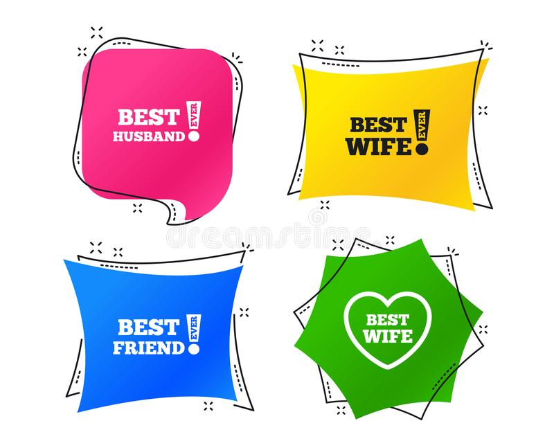 Best wife, husband and friend icons. Vector. Best wife, husband and friend icons. Heart love signs. Awards with exclamation symbol. Geometric colorful tags royalty free illustration