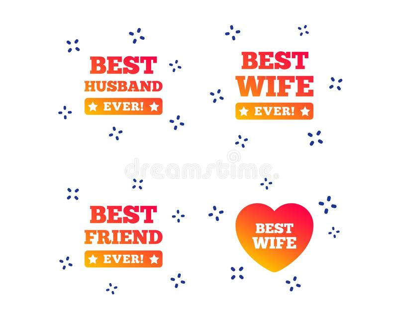 Best wife, husband and friend icons. Vector. Best wife, husband and friend icons. Heart love signs. Award symbol. Random dynamic shapes. Gradient husband icon royalty free illustration