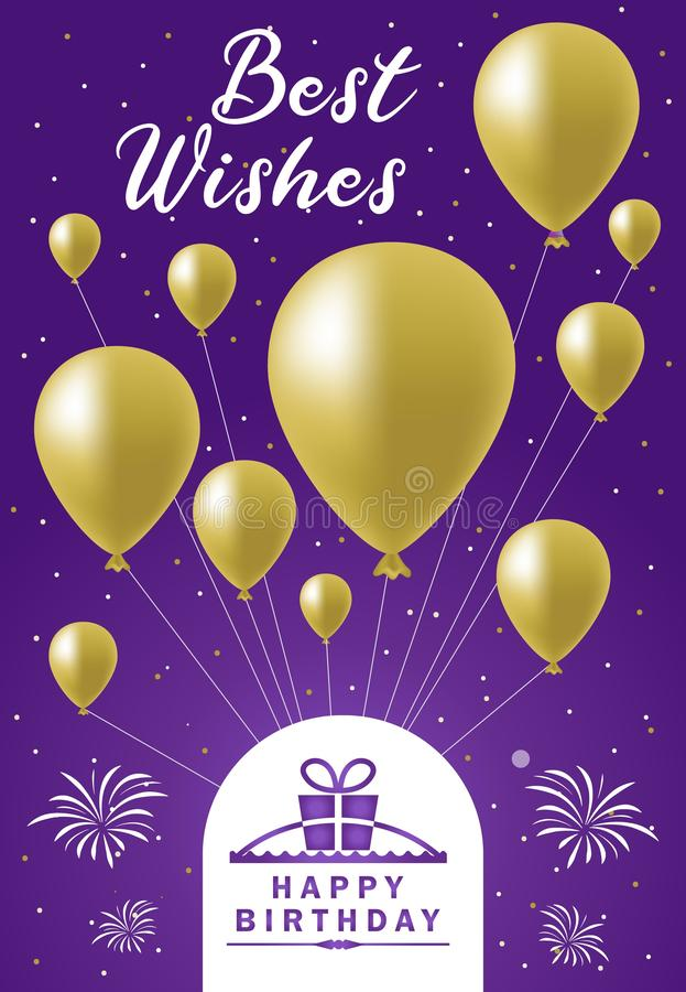 Best wishes balloon happy birthday card vector illustration