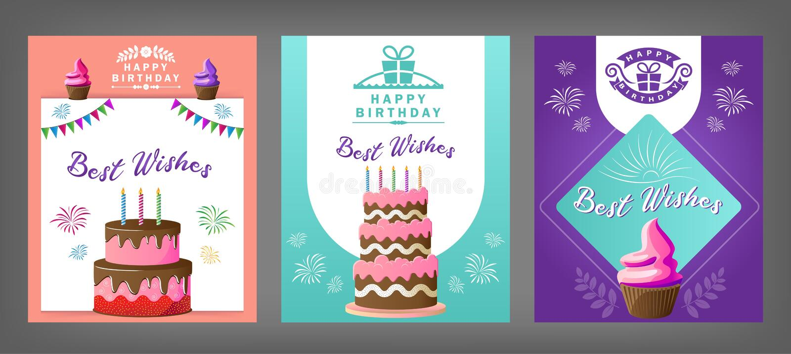 Best wishes birthday cards design layout options vector illustration