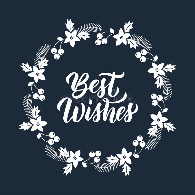 Free Best Wishes Inscription In White Ink And Christmas Greeting Wreath With Rowanberry, Fir Branches, Poinsettia. Round Frame For Stock Photography - 164381902