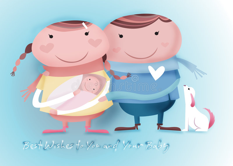 Best wishes to you and your baby stock illustration