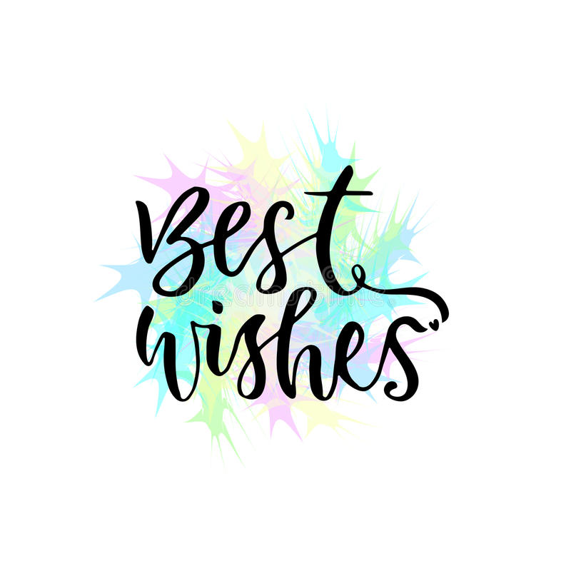 Best Wishes Vector Greeting Card With Hand Lettering