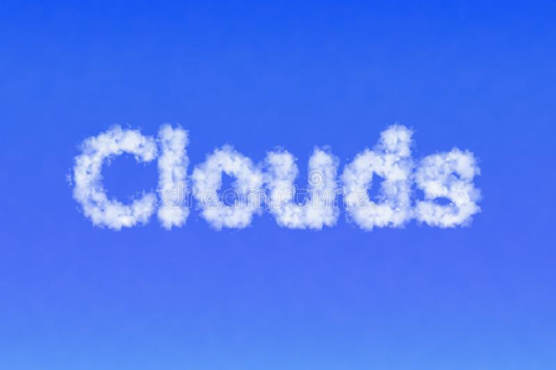 Word Clouds made of clouds in the sky. Ecology concept. stock photos