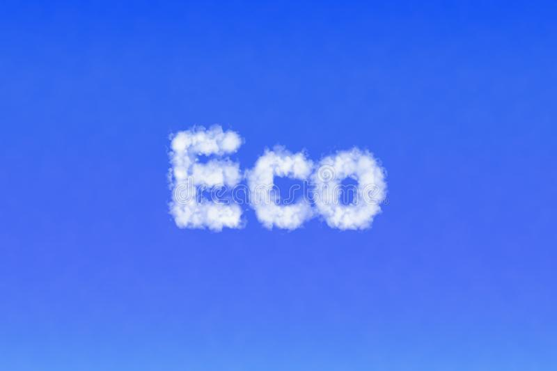 Word Eco made of clouds in the sky. Ecology concept stock photography